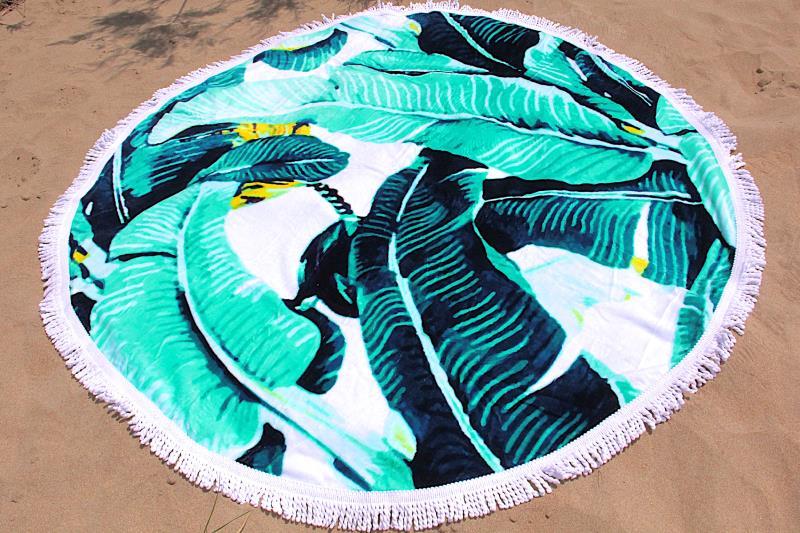 serviette de plage ronde motif jungle tendances du monde. Black Bedroom Furniture Sets. Home Design Ideas