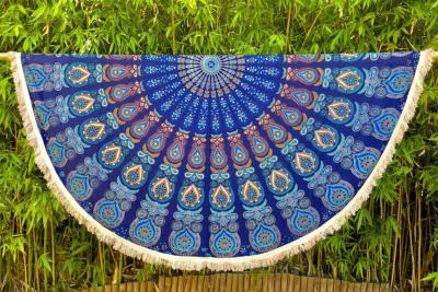drap de plage rond mandala bleu mysore. Black Bedroom Furniture Sets. Home Design Ideas
