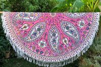 Drap de plage rond Arabesque rose