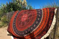 Drap de plage rond India franges beiges