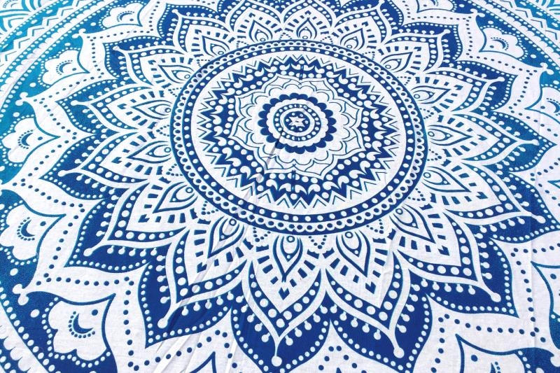 Drap De Plage Rond Mandala Bleu Tendances Du Monde