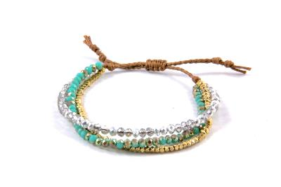 Bracelet trio or, crystal et turquoise