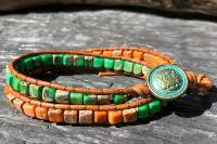 Bracelet vert et orange wrap 2 tours