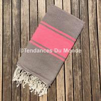 Fouta rose et taupe XL
