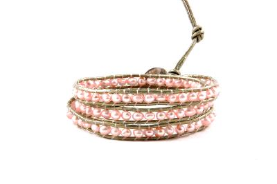 Bracelet wrap rose nacré 3 tours