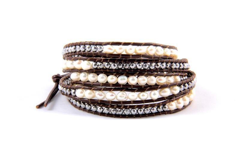 Bracelet Wrap Perles Nacrees 5 Tours Tendances Du Monde