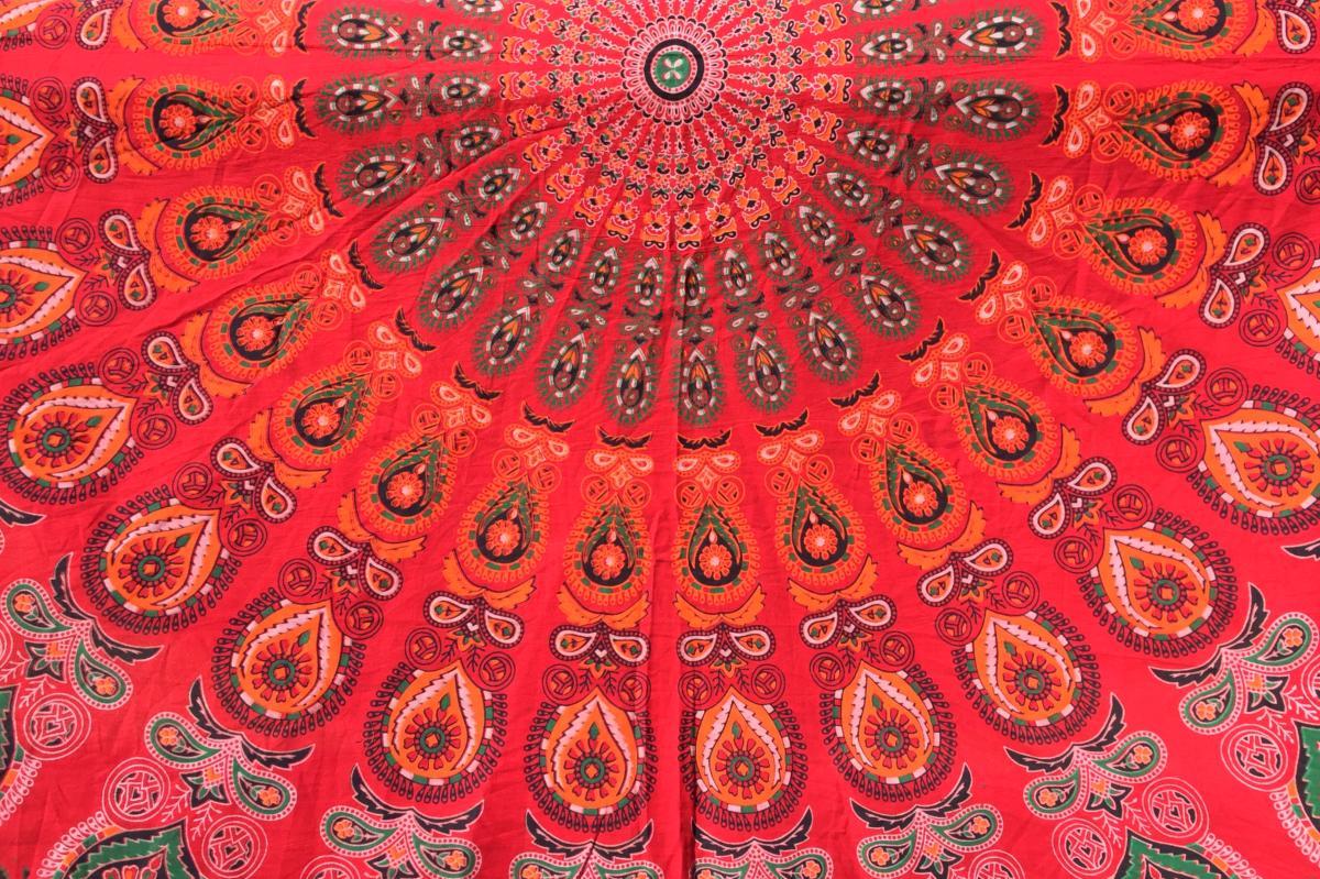 Drap De Plage Rond Mandala Rouge Kanpur