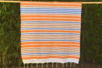 Fouta orange tissage à plat Jilma