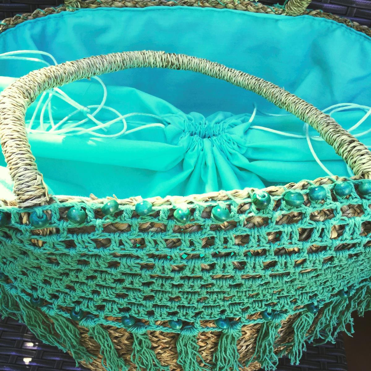 panier de plage ubud vert d 39 eau tendances du monde. Black Bedroom Furniture Sets. Home Design Ideas