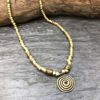 Collier ethnique spirale bronze