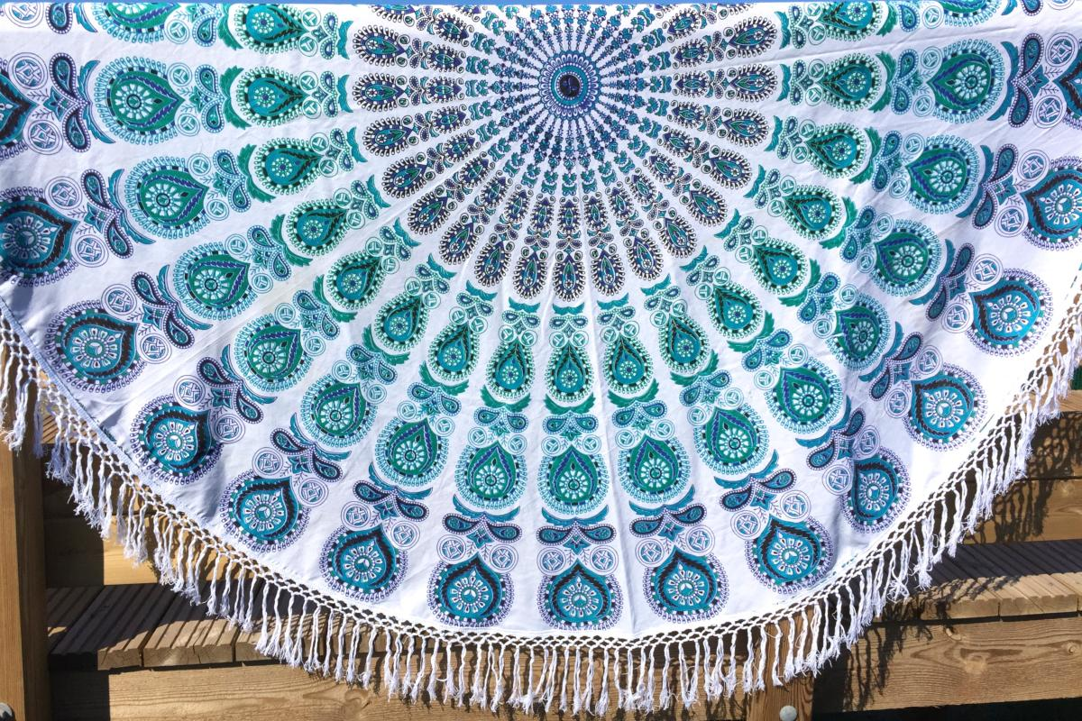 Drap De Plage Mandala Indien Rond Bleu Tendances Du Monde