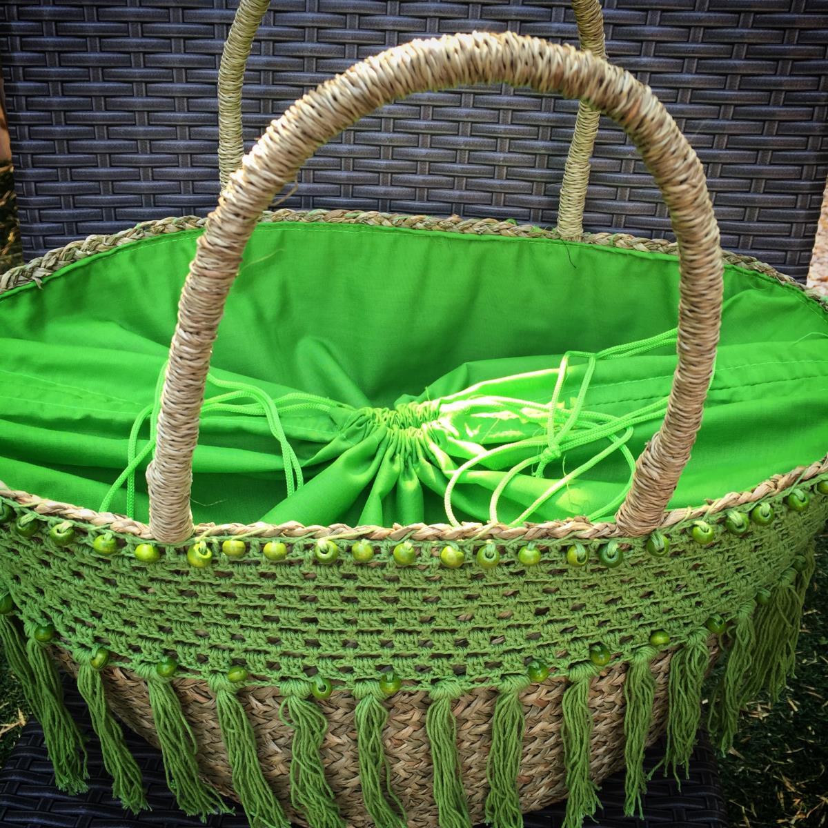 panier de plage ubud vert anis tendances du monde. Black Bedroom Furniture Sets. Home Design Ideas