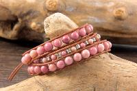 Bracelet wrap jaspe rose 3 tours
