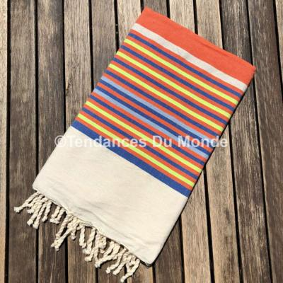 Fouta orange tissage à plat Gabès