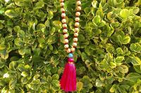 Collier Yoga Pompon rose